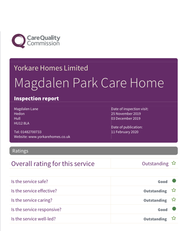 Magdalen Park Achieves a Second CQC Outstanding Rating!